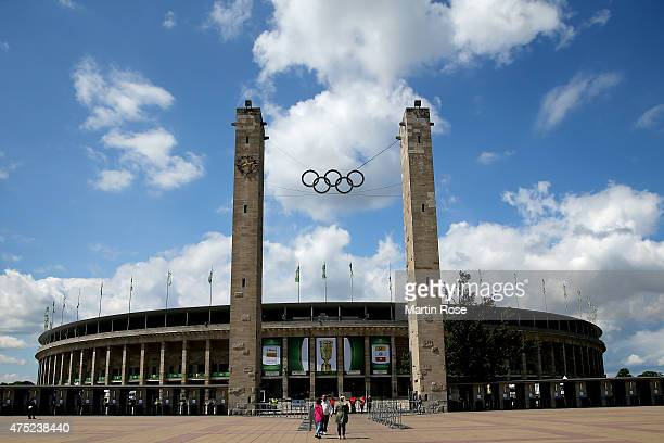 A general view of the Olympiastadion prior to the DFB Cup Final 2015 between Borussia Dortmund and VfL Wolfsburg at Olympiastadion on May 30 2015 in...