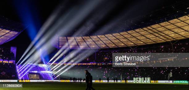 A general view of the Olympiastadion prior to the DFB Cup match between Hertha BSC and FC Bayern Muenchen at Olympiastadion on February 06 2019 in...