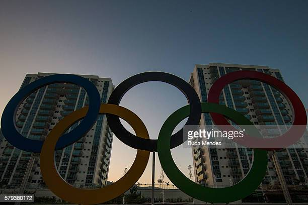 A general view of the Olympic and Paralympic Village for the 2016 Rio Olympic Games displaying the Olympic Rings in Barra da Tijuca The Village will...