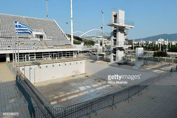 General view of the Olympic Aquatic Center in Athens Greece on July 31 2014 Ten years ago the XXVIII Olympiad was held in Athens from the 13th 29th...