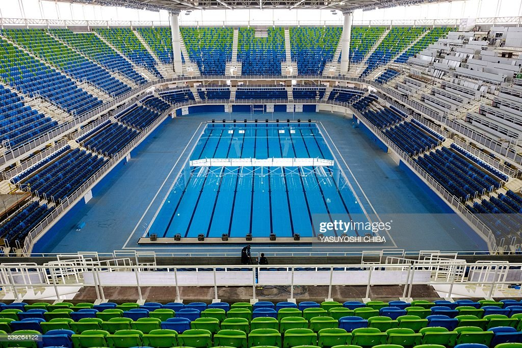 general view of the olympic aquatics stadium at the olympic park which will host the swimming