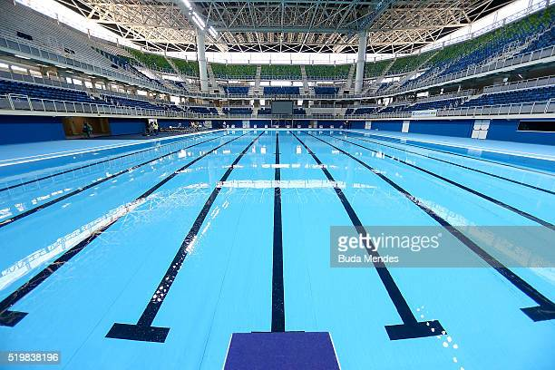 General view of the Olympic Aquatics Stadium during the inauguration which was attended by the President Dilma Rousseff at the Barra Olympic Park on...
