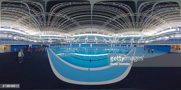 General view of the Olympic Aquatics Stadium during the inauguration at the Barra Olympic Park on April 8 2016 in Rio de Janeiro Brazil