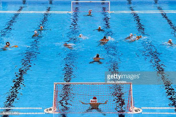 General view of the Olympic Aquatics Stadium during the International Water Polo Tournament Aquece Rio Test Event for the Rio 2016 Olympics at the...