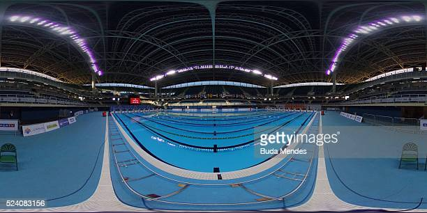General view of the Olympic Aquatics Stadium during the Paralympic Swimming Tournament Aquece Rio Test Event for the Rio 2016 Paralympics at the...