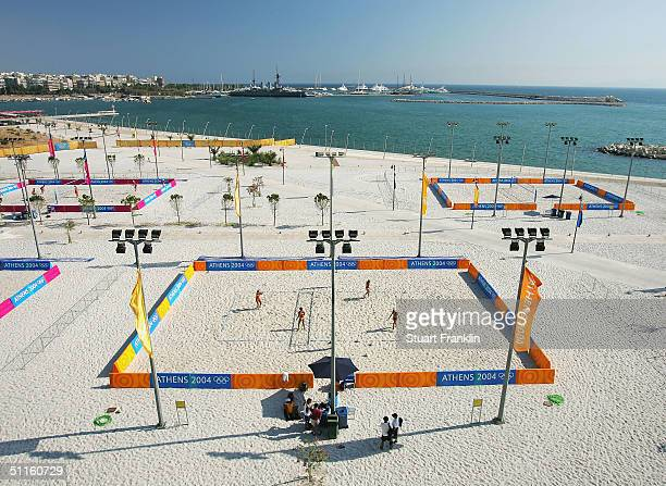 A general view of The Olympic Beach volleyball practice court complex during practice on August 11 2004 prior to the Athens 2004 Summer Olympic Games...