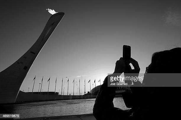 A general view of the Olympic Cauldron in the Olympic Park during the Sochi 2014 Winter Olympics on February 15 2014 in Sochi Russia