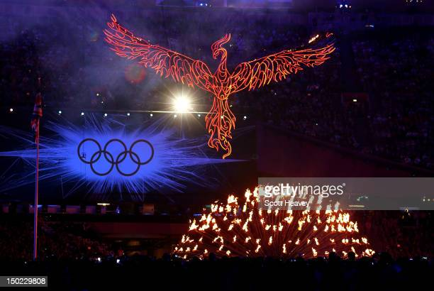 A general view of the Olympic cauldron next to the Olympic rings during the Closing Ceremony on Day 16 of the London 2012 Olympic Games at Olympic...