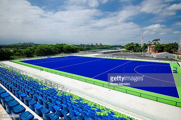 General view of the Olympic Hockey Centre at Deodoro Olympic Park on March 14 2016 in Rio de Janeiro Brazil
