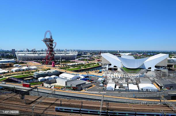 General view of the Olympic Park and Stadium from The Lund Point tower on July 23, 2012 in London, England.