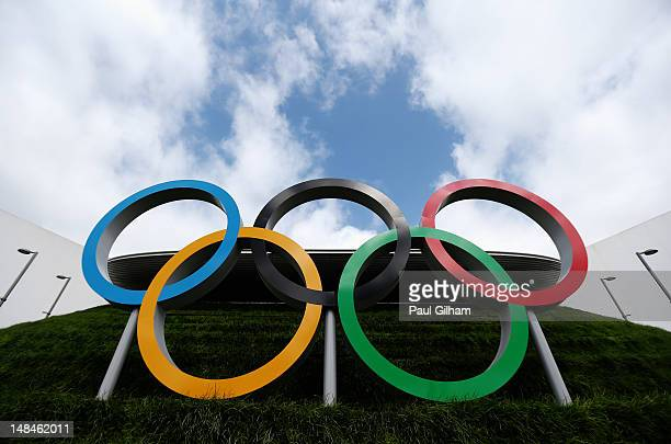 A general view of the Olympic Rings at the Aquatic Centre during previews ahead of the London 2012 Olympic Games at Olympic Park on July 17 2012 in...