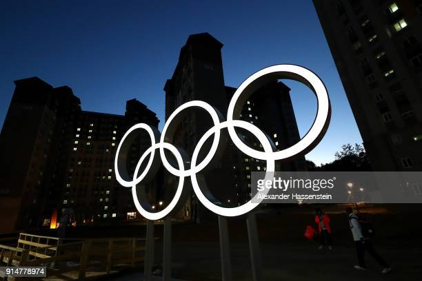 A general view of the Olympic rings at the Athletes' Village during previews ahead of the PyeongChang 2018 Winter Olympic Games on February 6 2018 in...