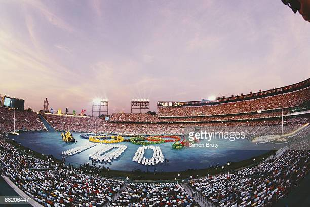 General view of the Olympic rings at the Opening Ceremony of the XXVI Summer Olympic Games on 19 July 1996 at the Centennial Olympic Stadium,...