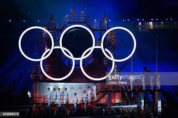 NANJING CHINA AUGUST A general view of the Olympic Rings during the opening ceremony for the Nanjing 2014 Summer Youth Olympic Games at the Nanjing...