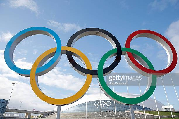 A general view of the Olympic Rings in front of the Bolshoy Ice Dome prior to the Sochi 2014 Winter Olympics in the Olympic Park Coastal Cluster on...