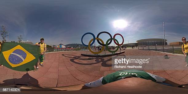 A general view of the Olympic Rings in the Olympic Park on Day 2 of the Rio 2016 Olympic Games on August 7 2016 in Rio de Janeiro Brazil