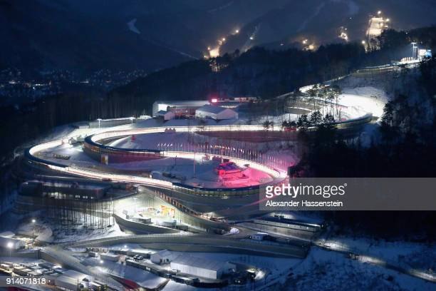General view of the Olympic Sliding center during previews ahead of the PyeongChang 2018 Winter Olympic Games at on February 4 2018 in Pyeongchanggun...