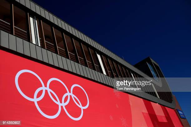 A general view of the Olympic Sliding Centre during previews ahead of the PyeongChang 2018 Winter Olympic Games on February 5 2018 in Pyeongchanggun...