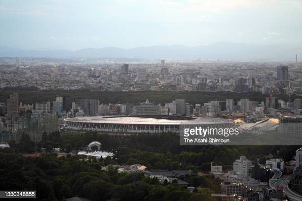 General view of the Olympic Stadium ahead of the Opening Ceremony of the Tokyo 2020 Olympic Games on July 23, 2021 in Tokyo, Japan.