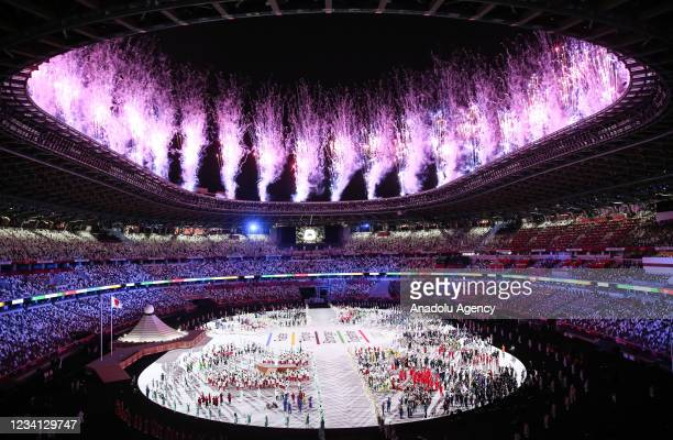 General view of the Olympic Stadium as athletes parade during the opening ceremony of the Tokyo 2020 Olympic Games in Tokyo, Japan on July 23, 2021.