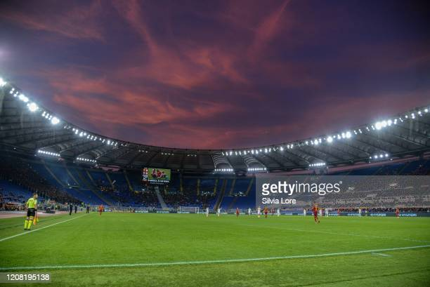 General view of the Olympic stadium before the Serie A match between AS Roma and US Lecce at Stadio Olimpico on February 23, 2020 in Rome, Italy.