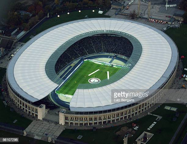 A general view of the Olympic Stadium during the Bundesliga match between Hertha BSC Berlin and 1 FC Kaiserslautern on November 5 2005 in Berlin...