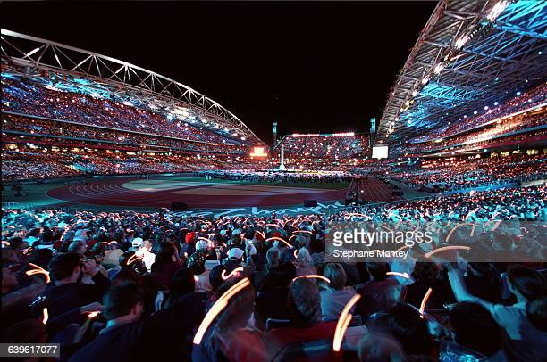 General view of the Olympic stadium during the closing ceremony of the 2000 Summer Olympic Games in Sydney