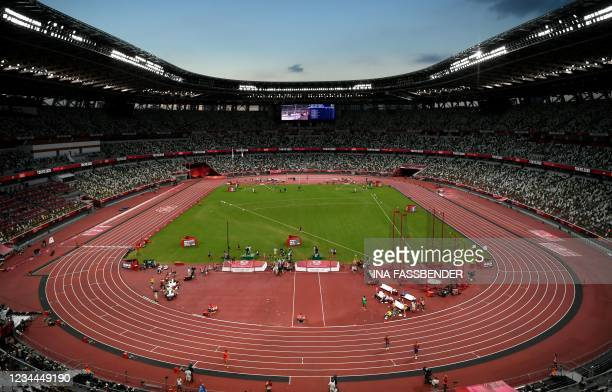 General view of the Olympic Stadium during the day six of the athletics competition at the Tokyo 2020 Olympic Games in Tokyo on August 4, 2021.