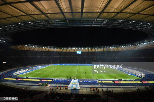 A general view of the Olympic Stadium during the game between Hertha BSC and RB Leipzig at the Olympic Stadium on november 3 2018 in Berlin Germany