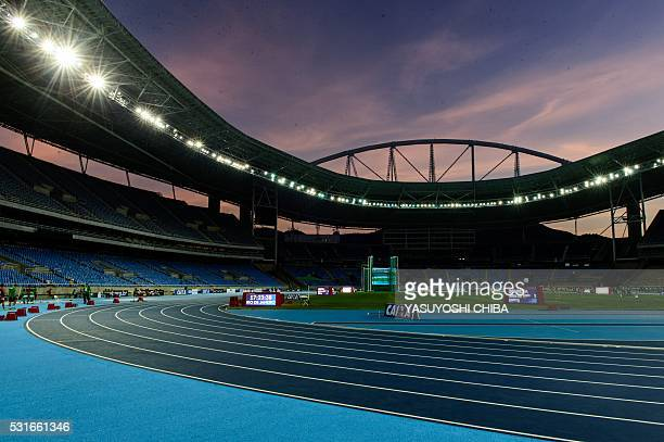 A general view of the Olympic Stadium during the Ibero American Athletics Championship test event for Rio 2016 Olympic Games in Rio de Janeiro on May...