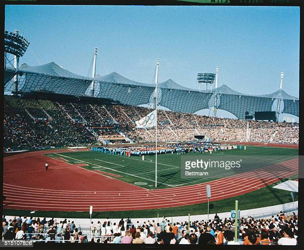 General view of the Olympic Stadium during the Memorial Service for Israeli athletes