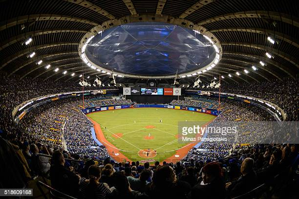 General view of the Olympic Stadium during the MLB spring training game between the Toronto Blue Jays and the Boston Red Sox on April 1 2016 in...