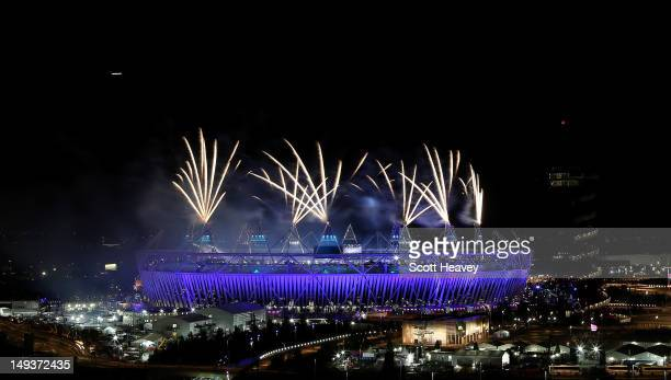 A general view of the Olympic Stadium during the opening ceremony of the 2012 Olympic Games on July 27 2012 in London England