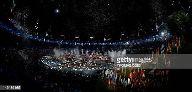 General view of the Olympic Stadium during the opening ceremony of the London 2012 Olympic Games on July 27, 2012 in London. AFP PHOTO / THOMAS COEX