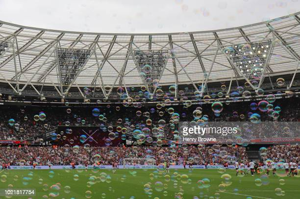 General view of The Olympic Stadium during the Premier League match between West Ham United and AFC Bournemouth at London Stadium on August 18 2018...