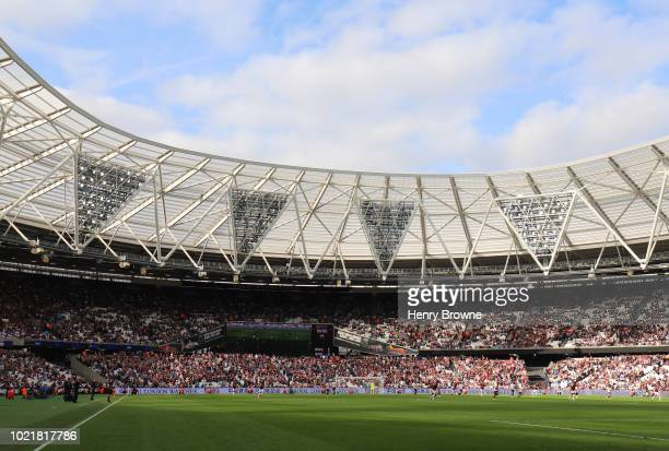 General view of The Olympic Stadium during the Premier League match between West Ham United and AFC Bournemouth at London Stadium on August 18, 2018...