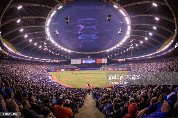 General view of the Olympic Stadium during the spring training game between the Milwaukee Brewers and the Toronto Blue Jays at Olympic Stadium on...