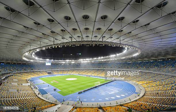 General view of the Olympic Stadium home of FC Dynamo Kyiv taken during the UEFA Europa League group stage match between FC Dynamo Kyiv and KRC Genk...