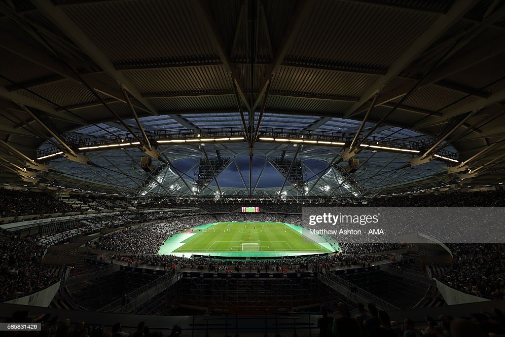 A general view of the Olympic Stadium home of West Ham United during the UEFA Europa League Third Qualifying Round Second Leg between West Ham United and NK Domzale at London Stadium on August 4, 2016 in Stratford, England.