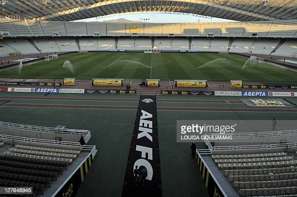 A general view of the Olympic stadium in Athens the host stadium of AEK Athens prior to their match with Sturm Graz for the UEFA Europa league on...