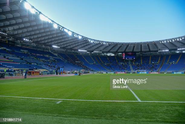 General view of the Olympic Stadium in Rome before the Serie A match between AS Roma and AC Milan at Stadio Olimpico on October 27, 2019 in Rome,...