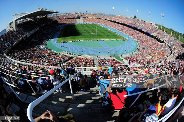 General view of the Olympic Stadium Lluis Companys during the Heineken European Cup quarterfinal match USAP Perpignan against RC Toulon at the...