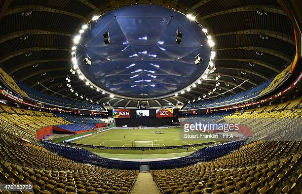 A general view of the Olympic stadium on June 7 2015 in Montreal Canada