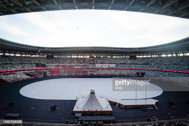 General view of the Olympic Stadium prior to the opening ceremony of the Tokyo 2020 Olympic Games on July 23, 2021 in Tokyo, Japan.