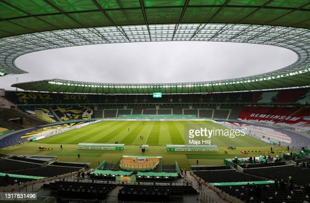 General view of the Olympic Stadium seen ahead during the DFB Cup final match between RB Leipzig and Borussia Dortmund at Olympic Stadium on May 13,...