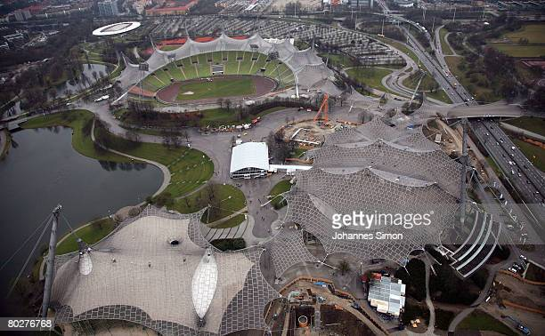 General view of the Olympic Stadium seen during rain on March 17 2008 in Munich Germany The weather forecasts predict wet rainy and regional snowy...
