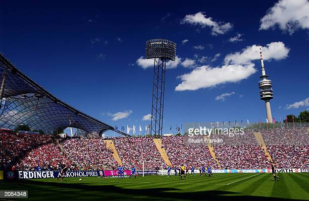 General view of the Olympic Stadium taken during the German Bundesliga match between FC Bayern Munich and 1FC Kaiserslautern held on May 3 2003 at...