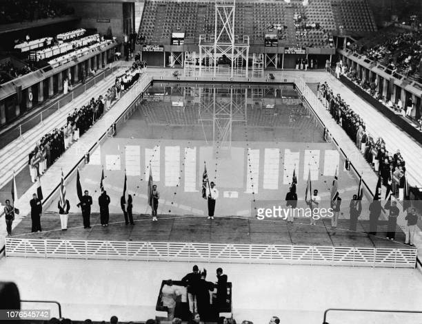 General view of the olympic swimming pool in August 1948 during the London 1948 Summer Olympic Games.