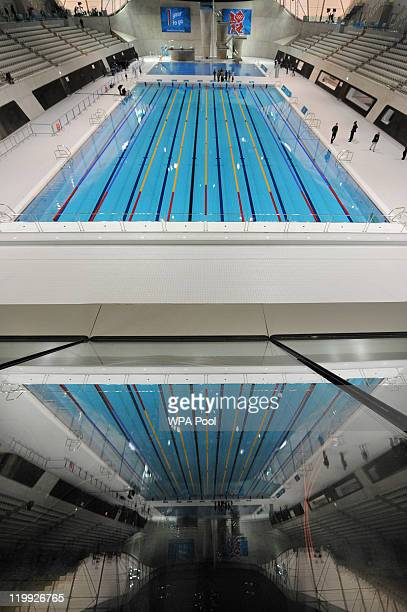 General view of the olympic swimming pool in the Aquatics Centre venue for the London 2012 Olympic Games at the Olympic Park on July 27 2011 in...