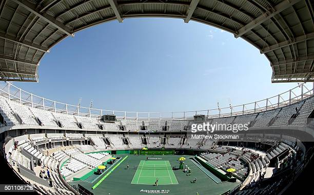General view of the Olympic Tennis Center as Gabriela Ce plays Caroline Alves during the Brazil Tennis Masters Cup Aquece Rio Test Event for the Rio...